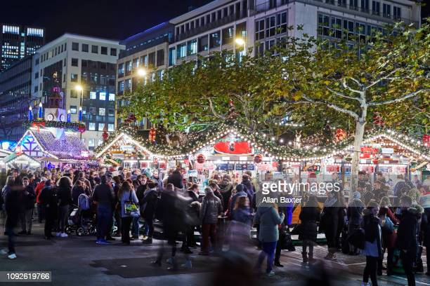 Christmas market in the Hauptwache district of Frankfurt at night