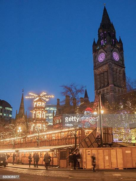 A Christmas market in the Town Hall of Manchester