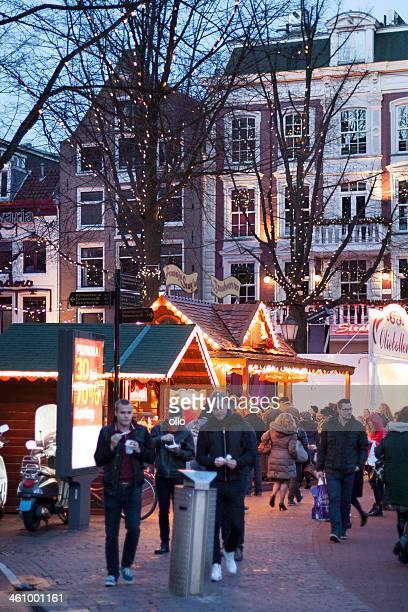 Marché de Noël, la place Leidseplein, Amsterdam