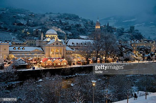 christmas market merano - hut stock pictures, royalty-free photos & images