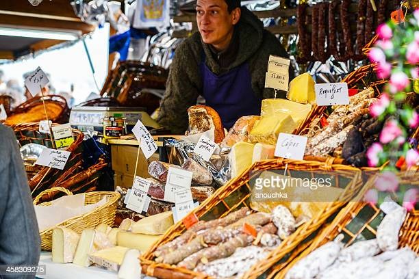 christmas market. montmartre. paris. sausages and ham - french food stock pictures, royalty-free photos & images