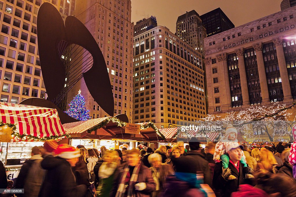 Chicago Christmas Market.Christmas Market On Daley Plaza In Chicago Stock Photo