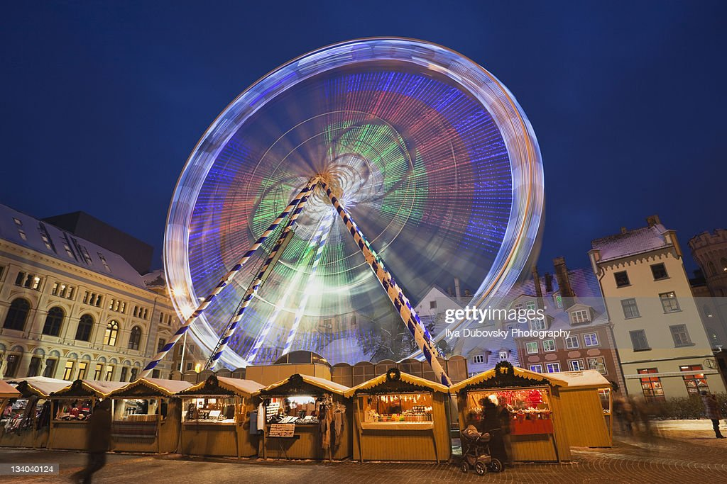 Christmas market on Livu square in Riga : Stock Photo