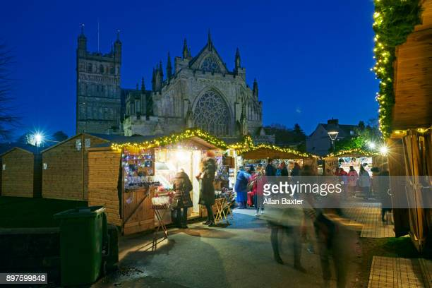 Christmas Market outside the Gothic cathedral in Exeter