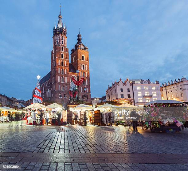 christmas market - krakow stock pictures, royalty-free photos & images
