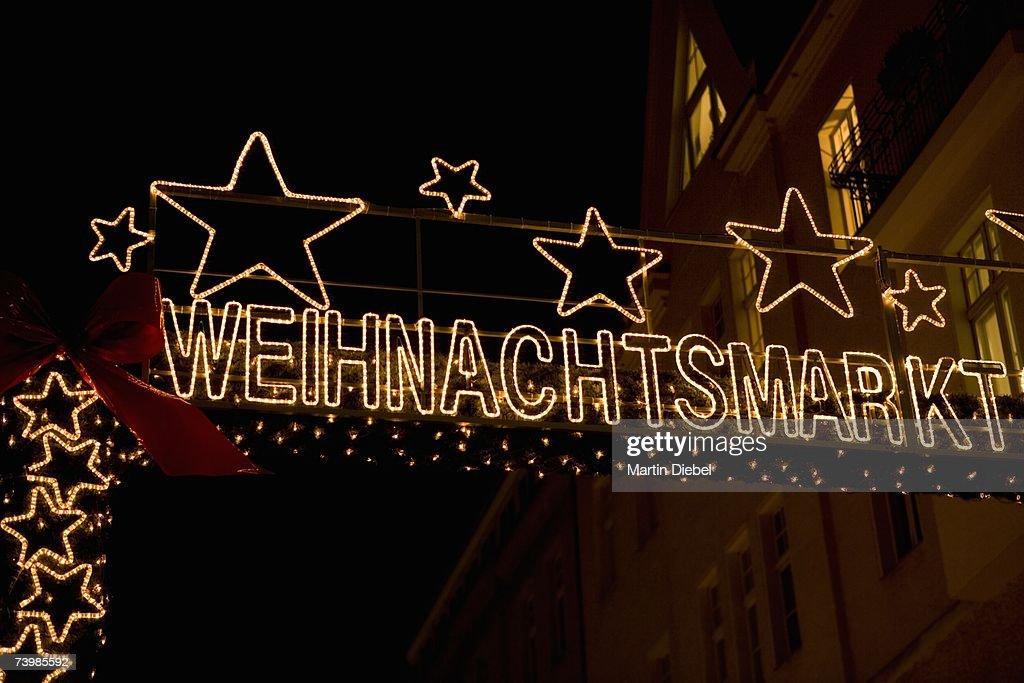 Christmas market sign, Berlin, Germany : Stock Photo