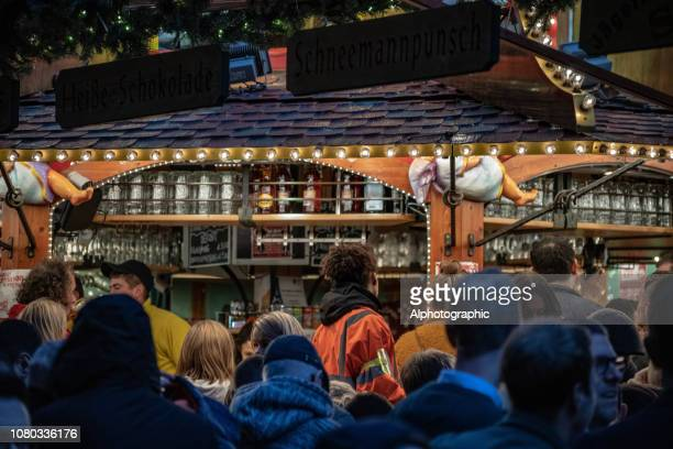 Christmas market stall selling Gluwein