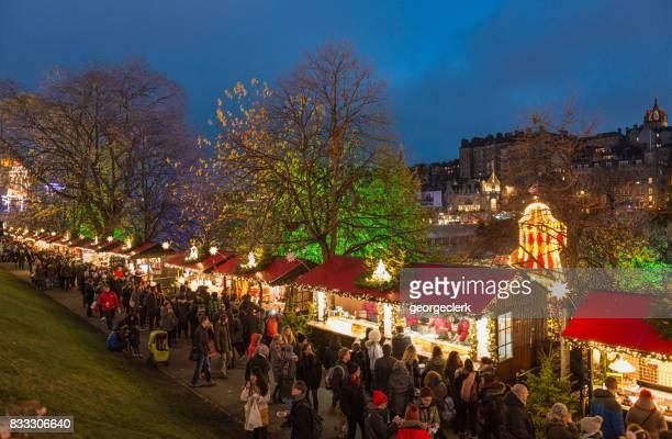 Christmas Market Stalls in Edinburgh