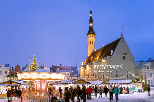 christmas market, tallinn, estonia - estonia stock photos and pictures