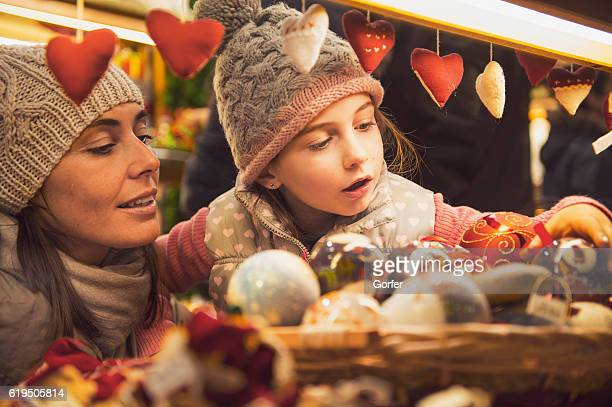 christmas market - vintage look - heart month stock photos and pictures