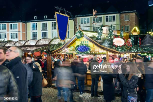 Christmas market with crowds in the Romerberg district of Frankfurt