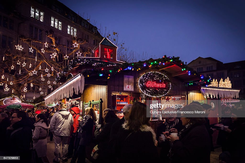 christmas market zurich switzerland stock photo