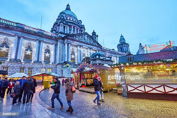 christmas markets in belfast, northern ireland - belfast stock pictures, royalty-free photos & images