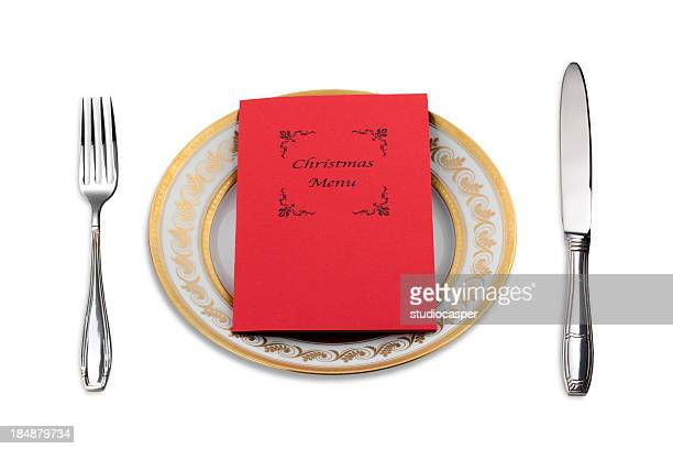 Christmas Menu on dinner plate