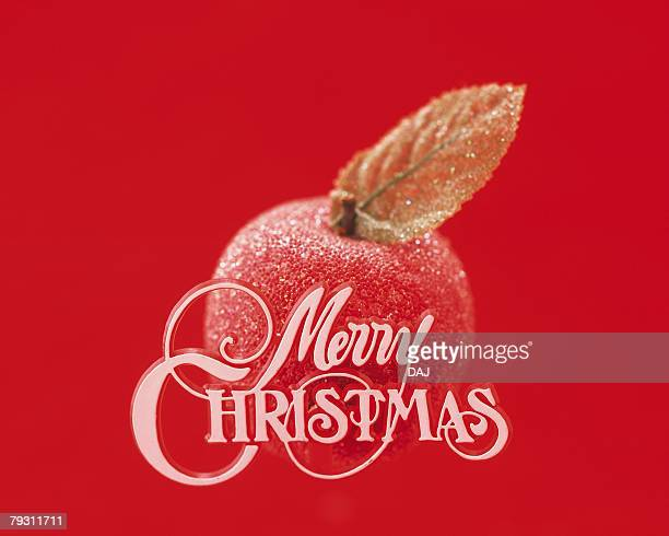 Christmas Message and Red Apple, Front View, Close Up