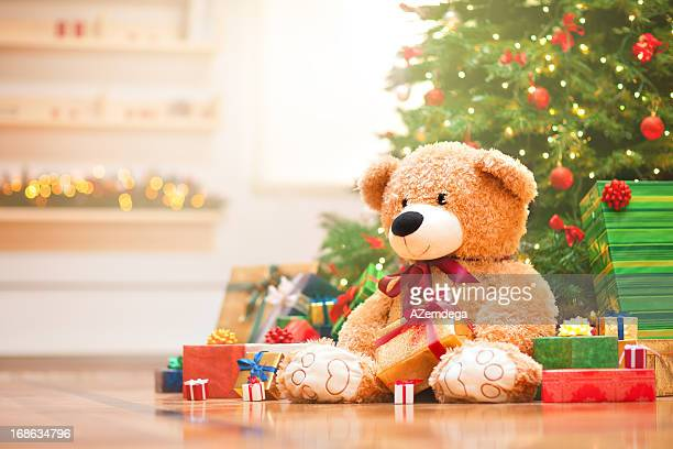 christmas morning - teddy bear stock pictures, royalty-free photos & images