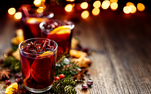 Christmas mulled red wine in a glass 614032262