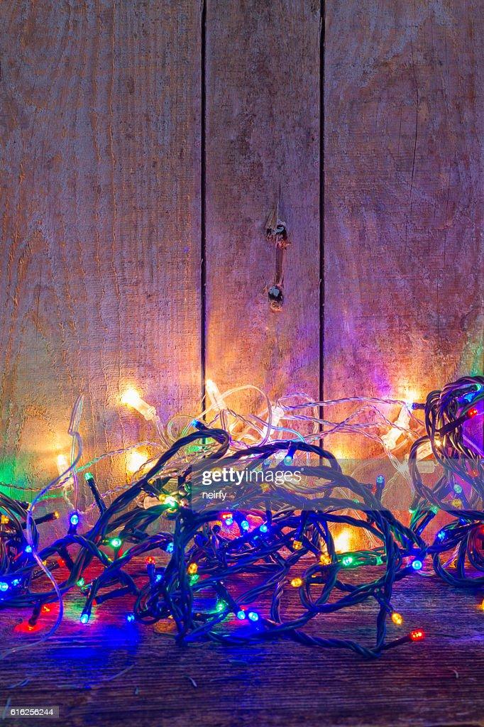 Christmas multicolored lights : Stock Photo