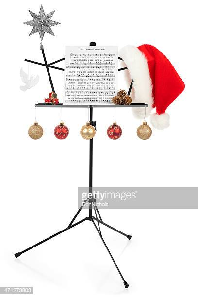 christmas music stand - christmas music stock pictures, royalty-free photos & images