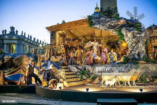 Christmas nativity scene at St Peter's Square.