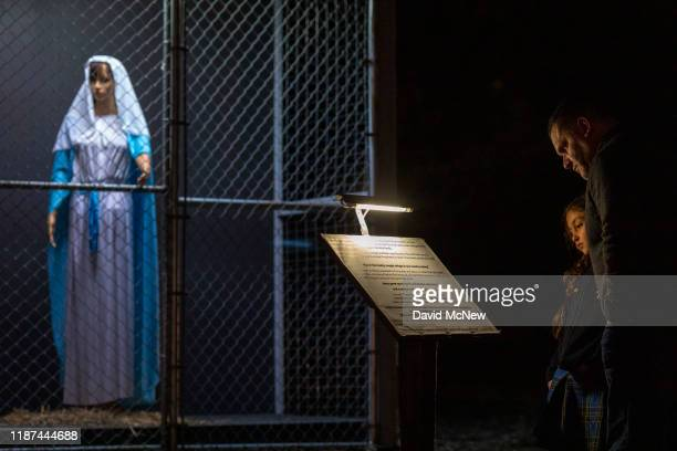 Christmas nativity scene depicts Jesus Mary and Joseph separated and caged as if asylum seekers detained by US Immigration and Customs Enforcement at...