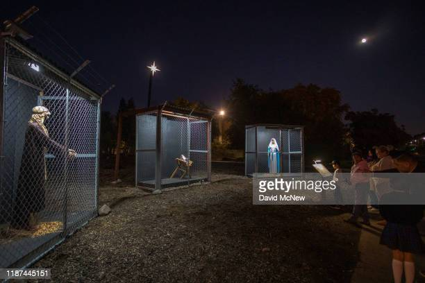 Christmas nativity scene depicts Jesus Mary and Joseph separated and caged as asylum seekers detained by US Immigration and Customs Enforcement at...