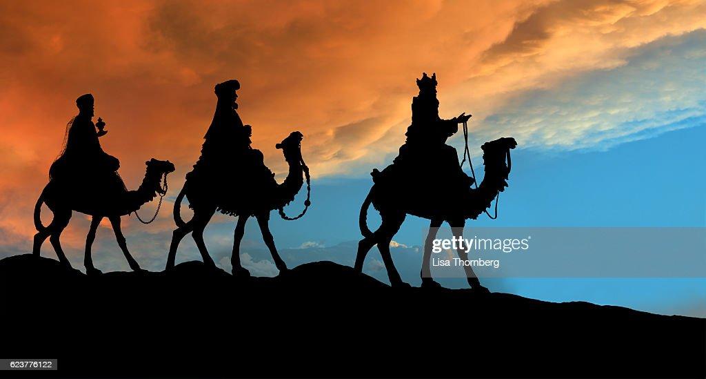 Christmas Nativity Scene, Three Wisemen Traveling : Bildbanksbilder