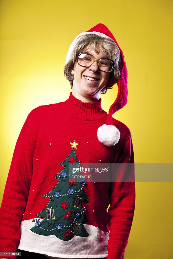 Christmas Nerd Teenage Boy With Ugly Sweater And Santa Hat -3916
