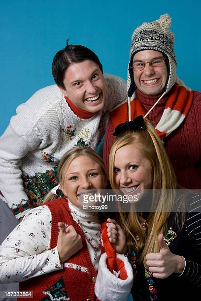 christmas nerds group - ugly girl stock photos and pictures