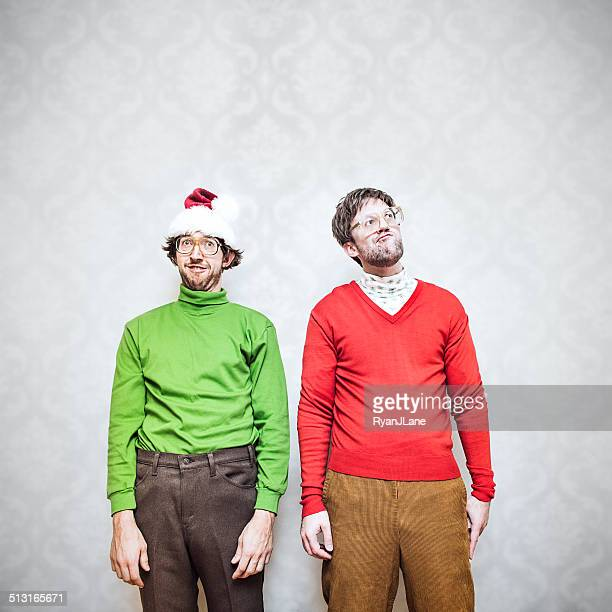 christmas nerds - ugly wallpaper stock photos and pictures