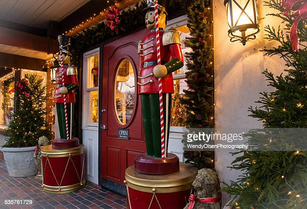christmas nutcrackers at store front - asheville stock pictures, royalty-free photos & images