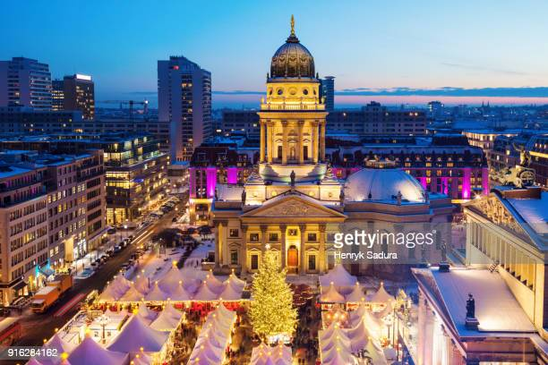 christmas on gendarmenmarkt in berlin - central berlin stock photos and pictures