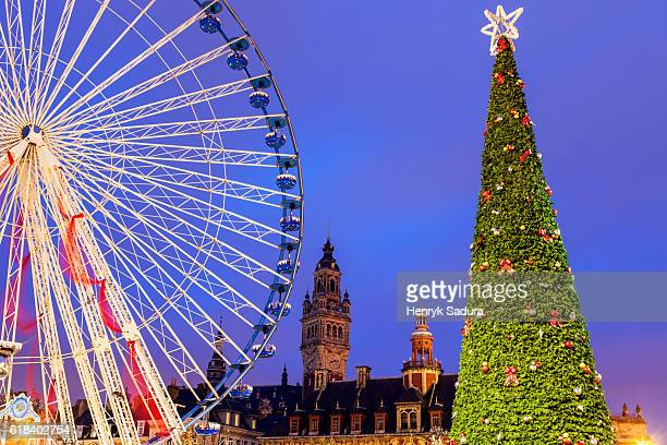christmas on general-de-gaulle square in lille - lille stock pictures, royalty-free photos & images