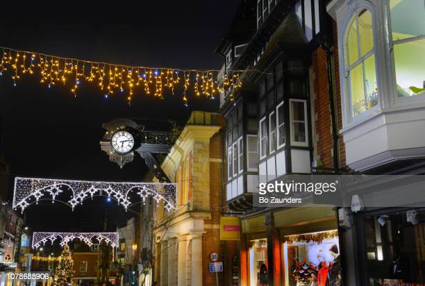 Christmas on High Street, Winchester, Hampshire, England.