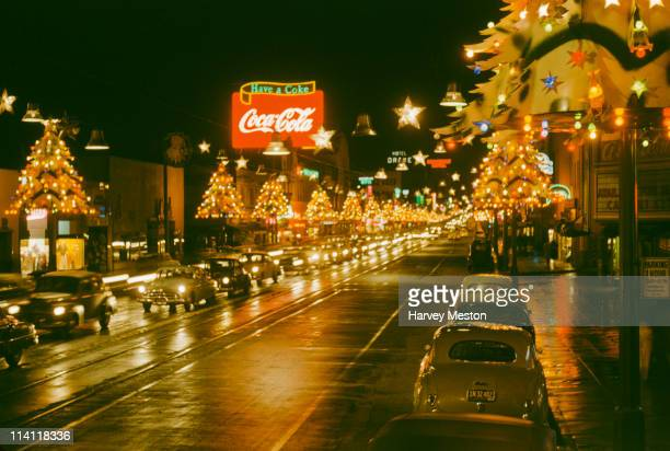 Christmas on Hollywood Boulevard in Hollywood Los Angeles California circa 1950