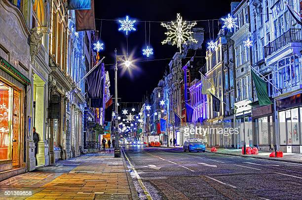 christmas on new bond street at night - anatoleya stock pictures, royalty-free photos & images