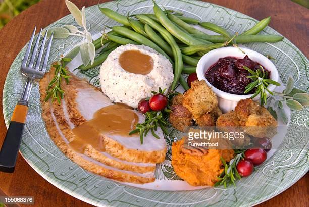 Christmas or Thanksgiving Roast Turkey Dinner Plate
