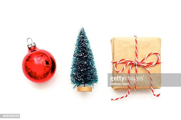 Christmas ornament, bottle brush tree and package