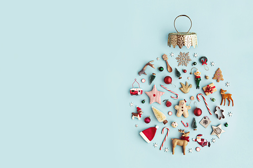 Christmas ornament flat lay 861971716