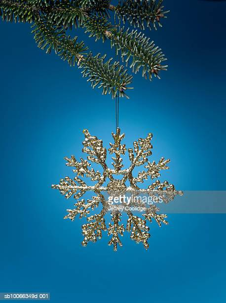 Christmas ornament in shape of snowflake hanging from Christmas tree