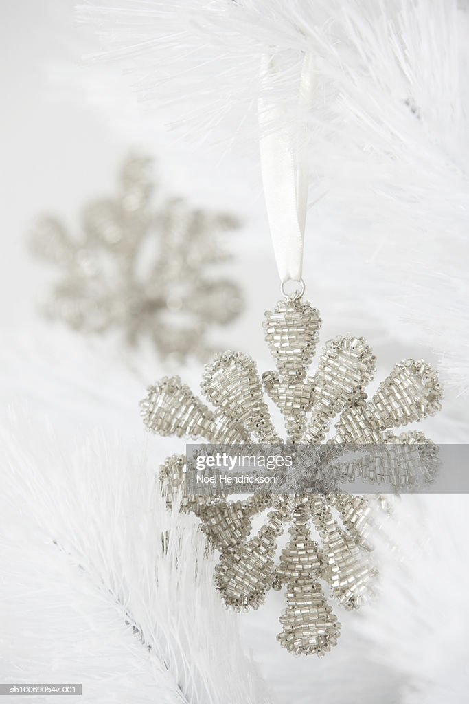 Christmas ornament shaped like snowflake : Stockfoto