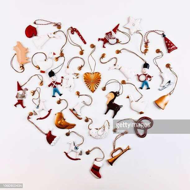 christmas ornament with heart shape. flat lay, top view - composition stock pictures, royalty-free photos & images
