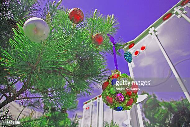 Christmas ornaments and semi-truck trailers