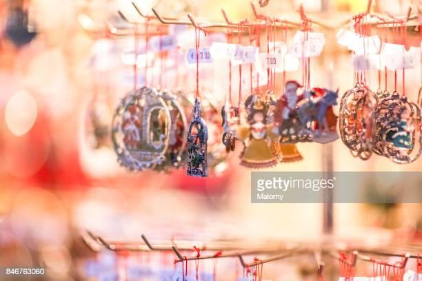 Christmas ornaments at christmas market in Germany. Nuremberg, Bavaria, Germany