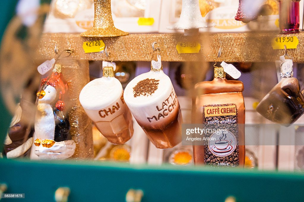 Christmas Ornaments at Christmas Market : Stock Photo