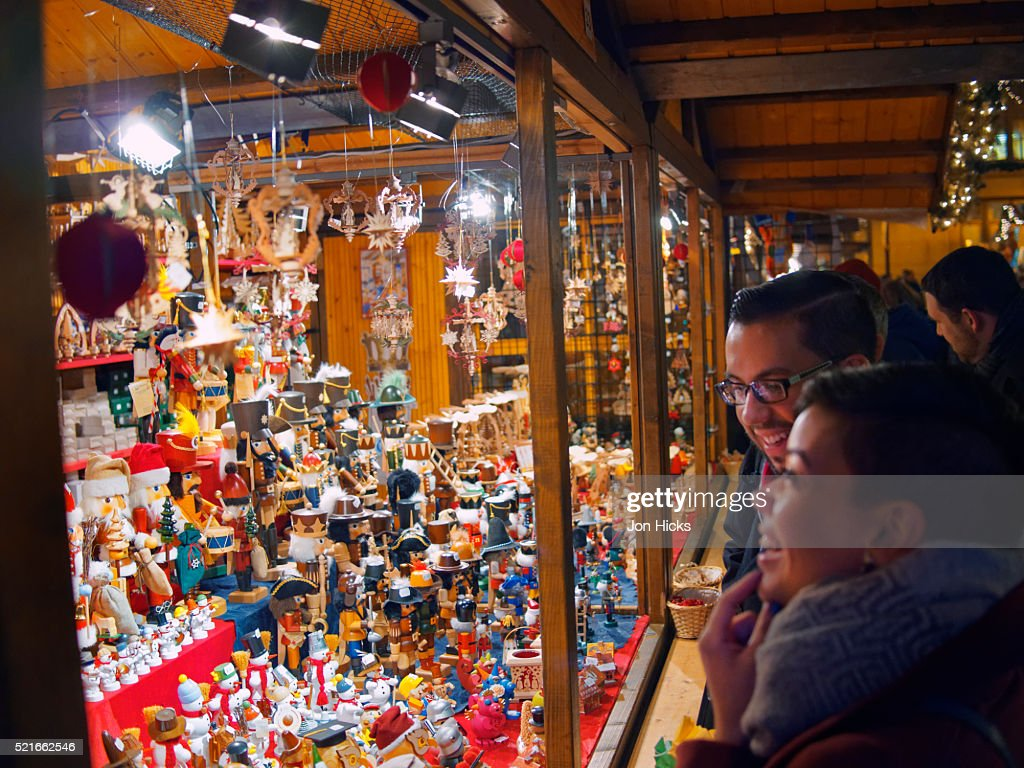 Christmas ornaments for sale at the annual Christkindlmarket Chicago in Daley Plaza.