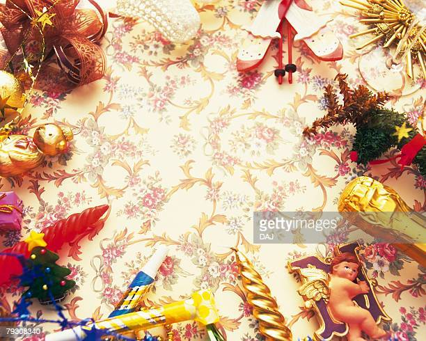Christmas ornaments, high angle view