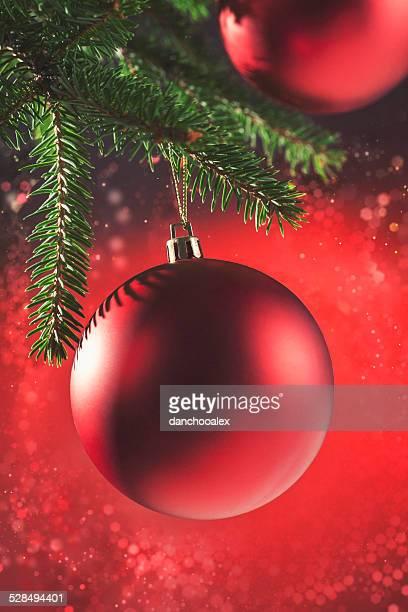 Christmas ornaments on a tree closeup shot