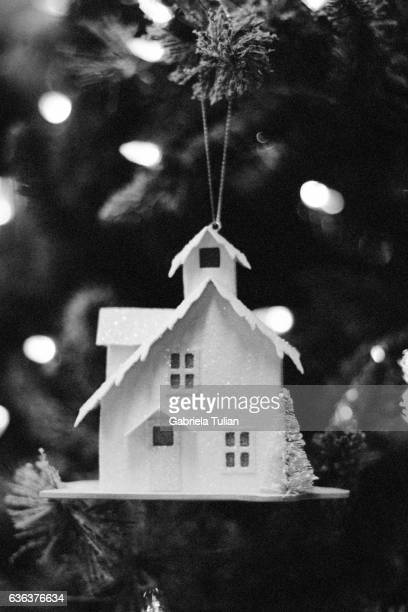Christmas Ornaments on a tree in BW