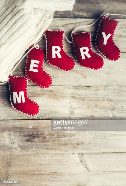 christmas ornaments on rustic wooden background - christmas background stock photos and pictures